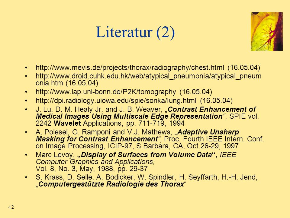 42 Literatur (2) http://www.mevis.de/projects/thorax/radiography/chest.html (16.05.04) http://www.droid.cuhk.edu.hk/web/atypical_pneumonia/atypical_pn