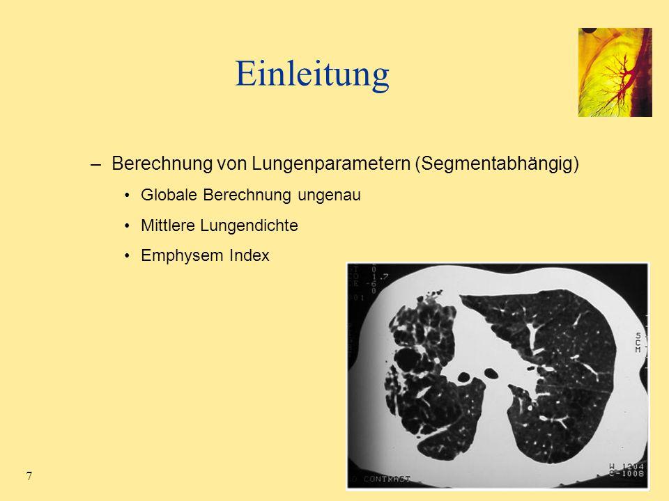 28 Fissuren Lungenlappensegmentierung durch interaktive Wasserscheidentransformation –Finden von 3D-Bereichen, die durch lokale Maxima getrennt werden –Hierarchische, markerbasierte WST –Schnelle Anzeige der Segmentierungsergebnisse nach jedem Marker