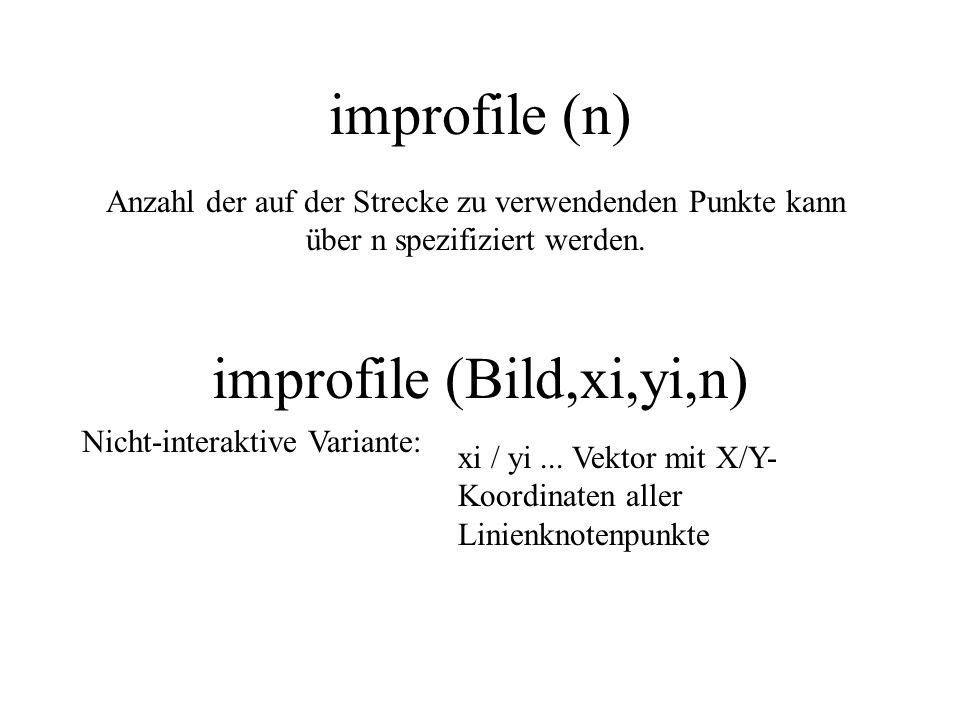 improfile (n) Anzahl der auf der Strecke zu verwendenden Punkte kann über n spezifiziert werden. improfile (Bild,xi,yi,n) Nicht-interaktive Variante:
