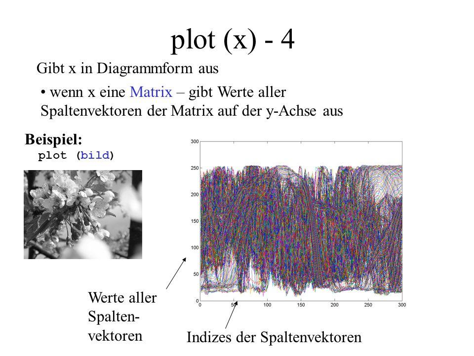 plot (x,y) Werte des Vektors y Werte des Vektors x Beispiel: plot ( sin([0:0.1:(2*pi)]), cos([0:0.1:(2*pi)])) Gibt paarweise die Werte der Vektoren x und y auf der entsprechenden Achse aus