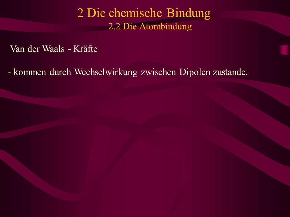 2 Die chemische Bindung 2.2 Die Atombindung Van der Waals - Kräfte - kommen durch Wechselwirkung zwischen Dipolen zustande.