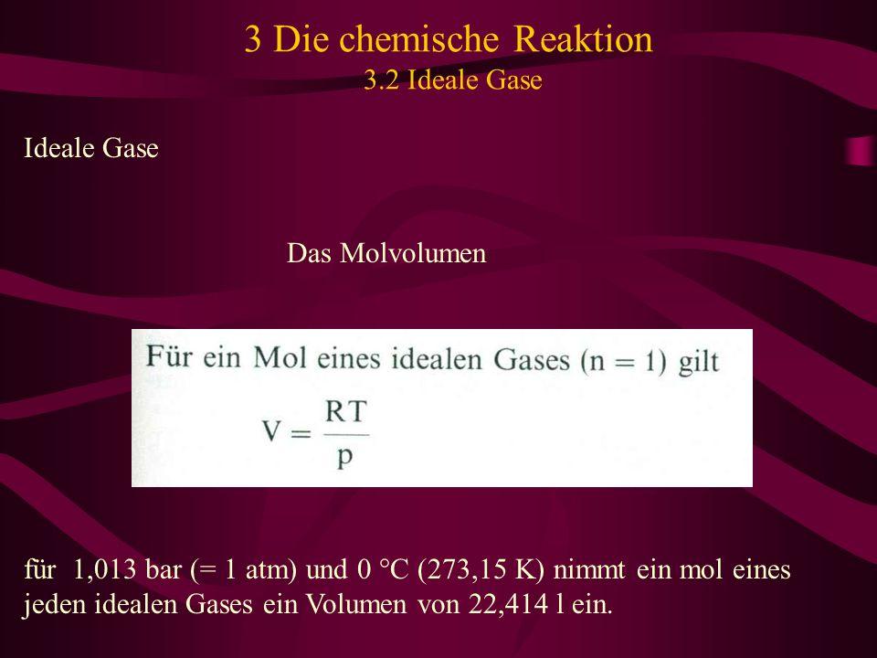 3 Die chemische Reaktion 3.2 Ideale Gase Ideale Gase Das Molvolumen für 1,013 bar (= 1 atm) und 0 °C (273,15 K) nimmt ein mol eines jeden idealen Gase