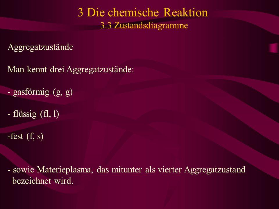 3 Die chemische Reaktion 3.3 Zustandsdiagramme Aggregatzustände Man kennt drei Aggregatzustände: - gasförmig (g, g) - flüssig (fl, l) -fest (f, s) - s