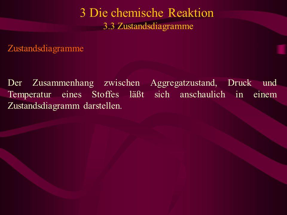 3 Die chemische Reaktion 3.3 Zustandsdiagramme Zustandsdiagramme Der Zusammenhang zwischen Aggregatzustand, Druck und Temperatur eines Stoffes läßt si