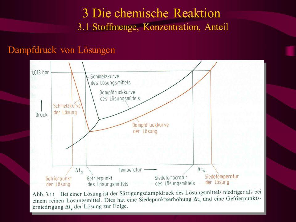 3 Die chemische Reaktion 3.1 Stoffmenge, Konzentration, Anteil Dampfdruck von Lösungen