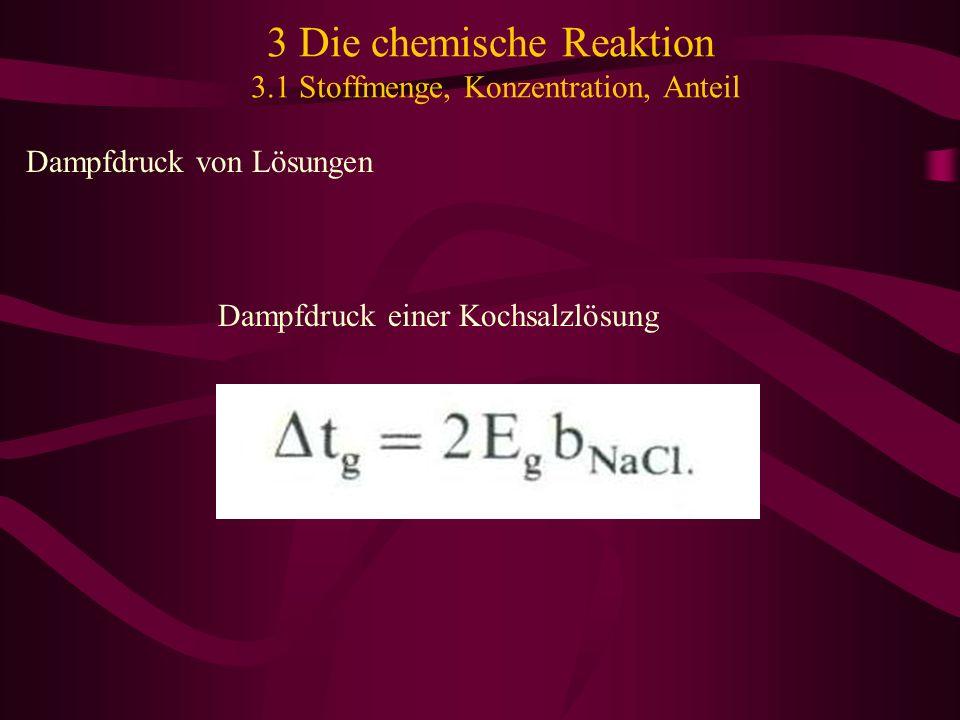 3 Die chemische Reaktion 3.1 Stoffmenge, Konzentration, Anteil Dampfdruck von Lösungen Dampfdruck einer Kochsalzlösung