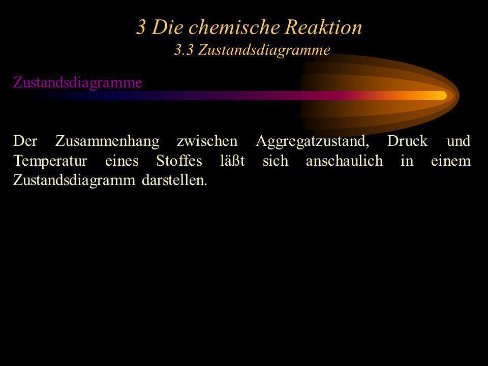 3 Die chemische Reaktion 3.3 Zustandsdiagramme Zustandsdiagramme Der Zusammenhang zwischen Aggregatzustand, Druck und Temperatur eines Stoffes läßt sich anschaulich in einem Zustandsdiagramm darstellen.