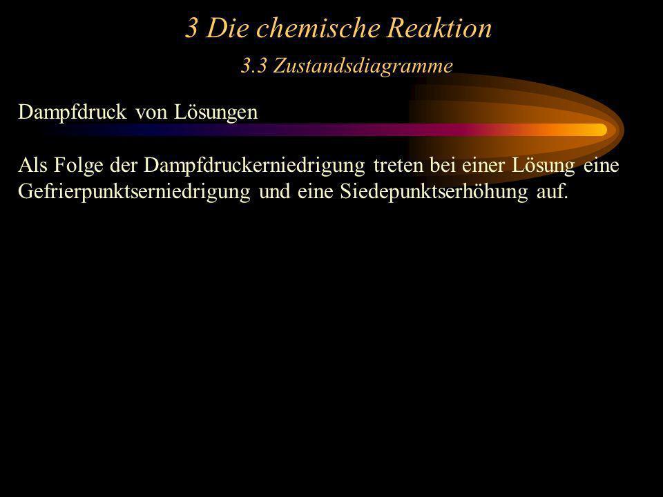 3 Die chemische Reaktion 3.3 Zustandsdiagramme Dampfdruck von Lösungen Als Folge der Dampfdruckerniedrigung treten bei einer Lösung eine Gefrierpunkts