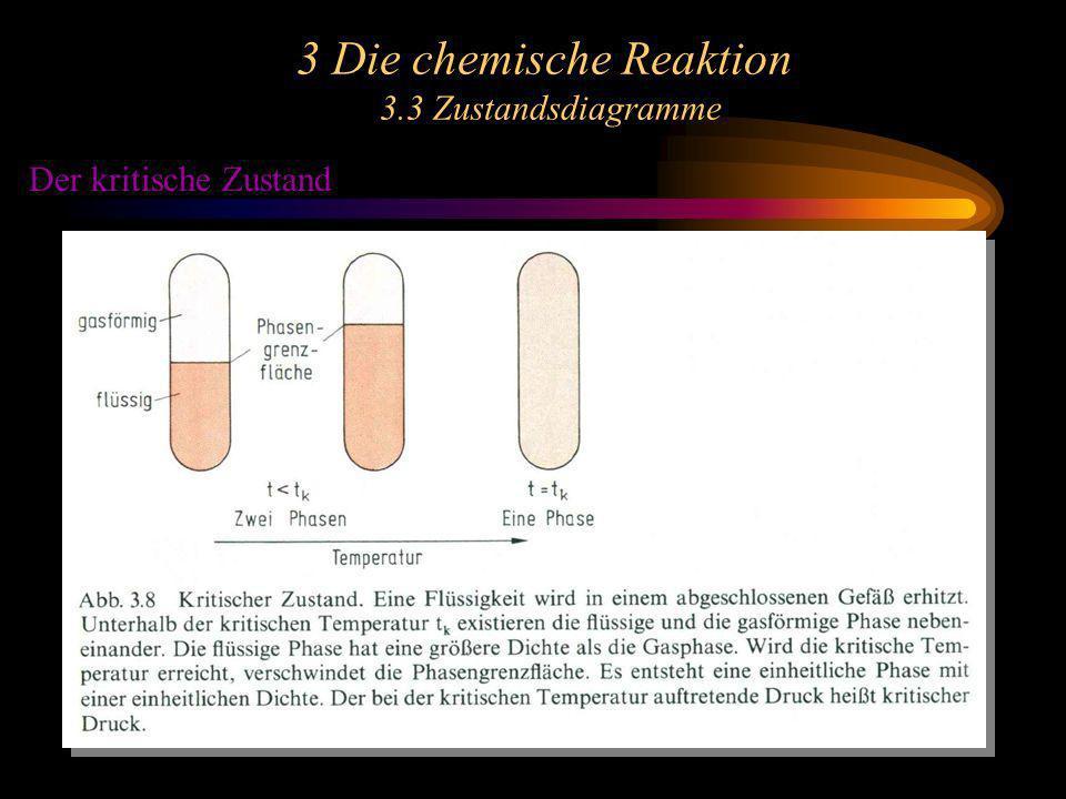3 Die chemische Reaktion 3.4 Reaktionsenthalpie, Standardbildungsenthalpie Man definiert daher eine neue Zustandsgröße, die Enthalpie H: H = U + pV Für Enthalpieänderungen bei konstantem Druck erhält man: H = U + p V = Q p Die Enthalpieabnahme H eines Systems ist die vom System bei konstantem Druck abgegebene Wärme.