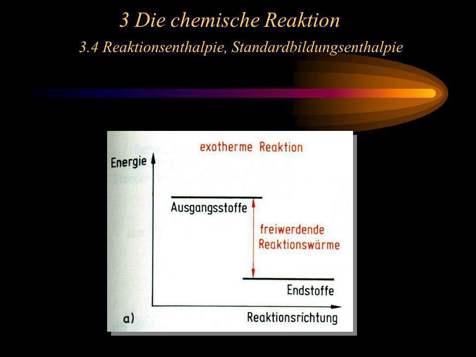 3 Die chemische Reaktion 3.4 Reaktionsenthalpie, Standardbildungsenthalpie
