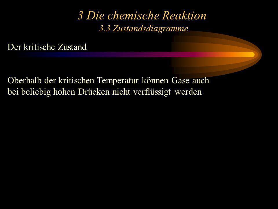 3 Die chemische Reaktion 3.3 Zustandsdiagramme Der kritische Zustand Oberhalb der kritischen Temperatur können Gase auch bei beliebig hohen Drücken ni