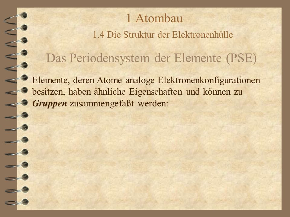 1 Atombau 1.4 Die Struktur der Elektronenhülle Das Periodensystem der Elemente (PSE)