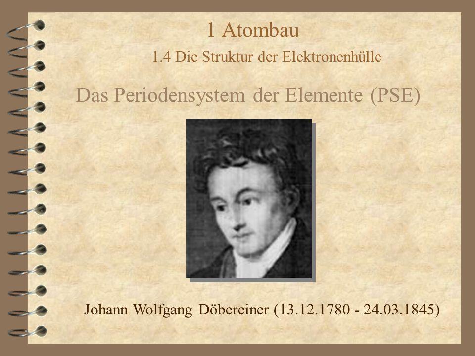 1 Atombau 1.4 Die Struktur der Elektronenhülle Das Periodensystem der Elemente (PSE) 1829 Aufstellung von Triaden, z.B.: Cl, Br, I Ca, Sr, Ba