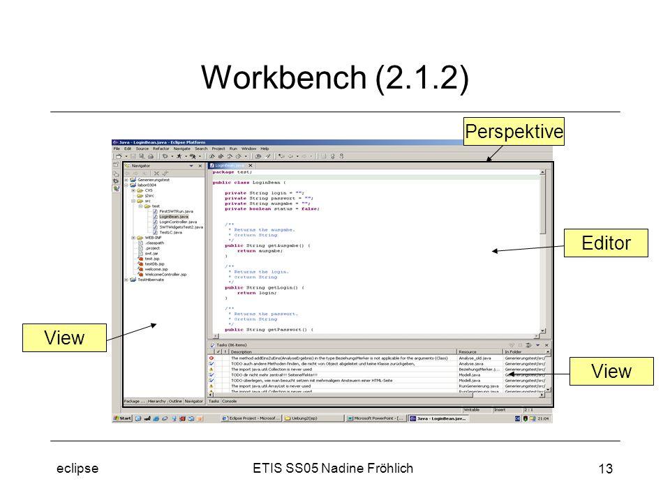 ETIS SS05 Nadine Fröhlicheclipse 13 Workbench (2.1.2) View Editor View Perspektive