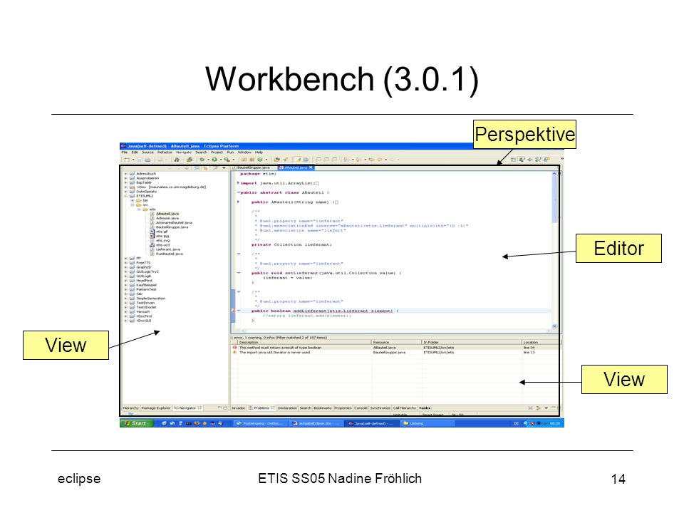 ETIS SS05 Nadine Fröhlicheclipse 14 Workbench (3.0.1) View Editor View Perspektive