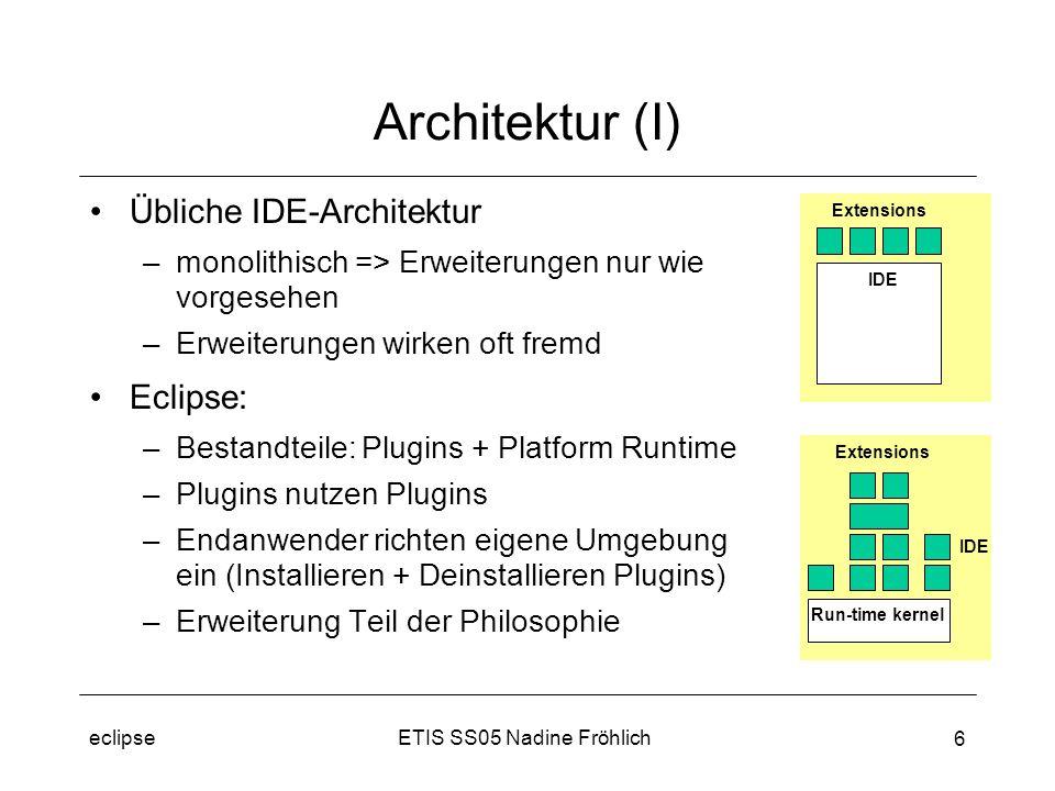 ETIS SS05 Nadine Fröhlicheclipse 17 Eclipse Platform - JFace JFace –Framework zur Gestaltung grafischer Ober- flächen (window- system unab- hängig) –Trennung von Modell und Darstellung –bettet SWT in Eclipse- Framework