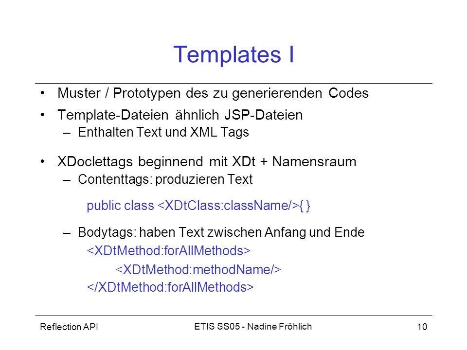 Reflection API10 ETIS SS05 - Nadine Fröhlich Templates I Muster / Prototypen des zu generierenden Codes Template-Dateien ähnlich JSP-Dateien –Enthalte