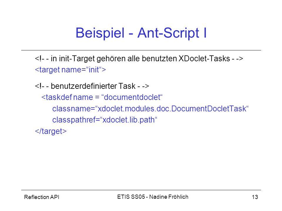 Reflection API13 ETIS SS05 - Nadine Fröhlich Beispiel - Ant-Script I <taskdef name = documentdoclet classname=xdoclet.modules.doc.DocumentDocletTask c