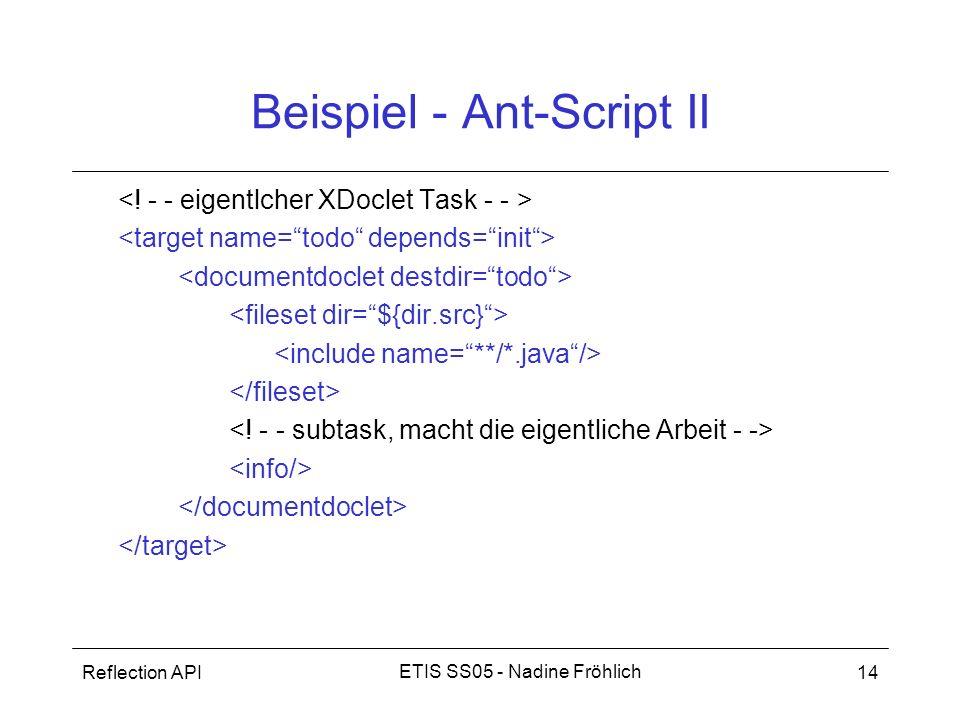 Reflection API14 ETIS SS05 - Nadine Fröhlich Beispiel - Ant-Script II