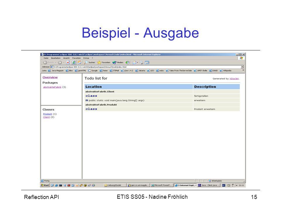 Reflection API15 ETIS SS05 - Nadine Fröhlich Beispiel - Ausgabe