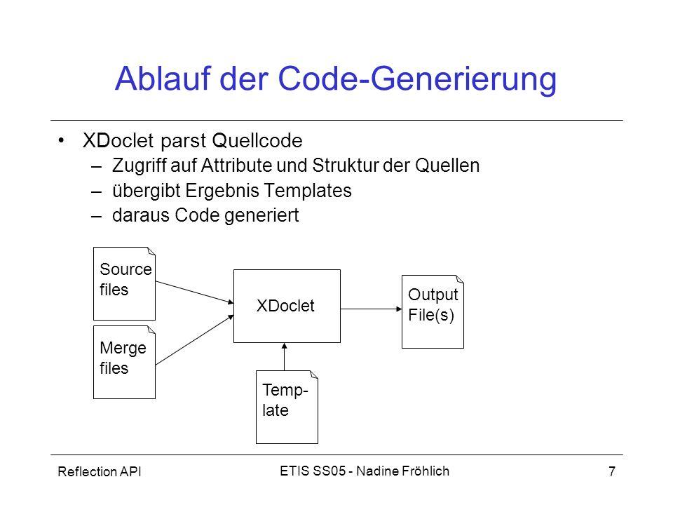 Reflection API8 ETIS SS05 - Nadine Fröhlich Aufbau I Framework + Tasks (Generierungsanwendungen) –nur aus Ant zu starten Task –besteht aus Subtasks –Ant-Task –Beispiele: – Subtask –Erledigt eigentliche Code- Generierung durch Aufruf von Templates subtask XDoclet Ant task subtask Ant subtask XDoclet Ant task...