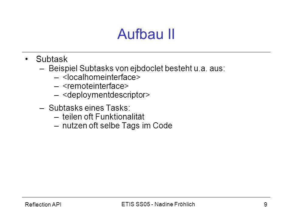 Reflection API9 ETIS SS05 - Nadine Fröhlich Aufbau II Subtask –Beispiel Subtasks von ejbdoclet besteht u.a. aus: – –Subtasks eines Tasks: –teilen oft
