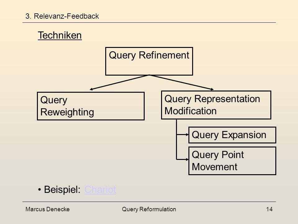 Marcus DeneckeQuery Reformulation13 3. Relevanz-Feedback Informationsbedarf modelliert durch dynamisch angepasste Gewichte Query Reweighting Erweiteru