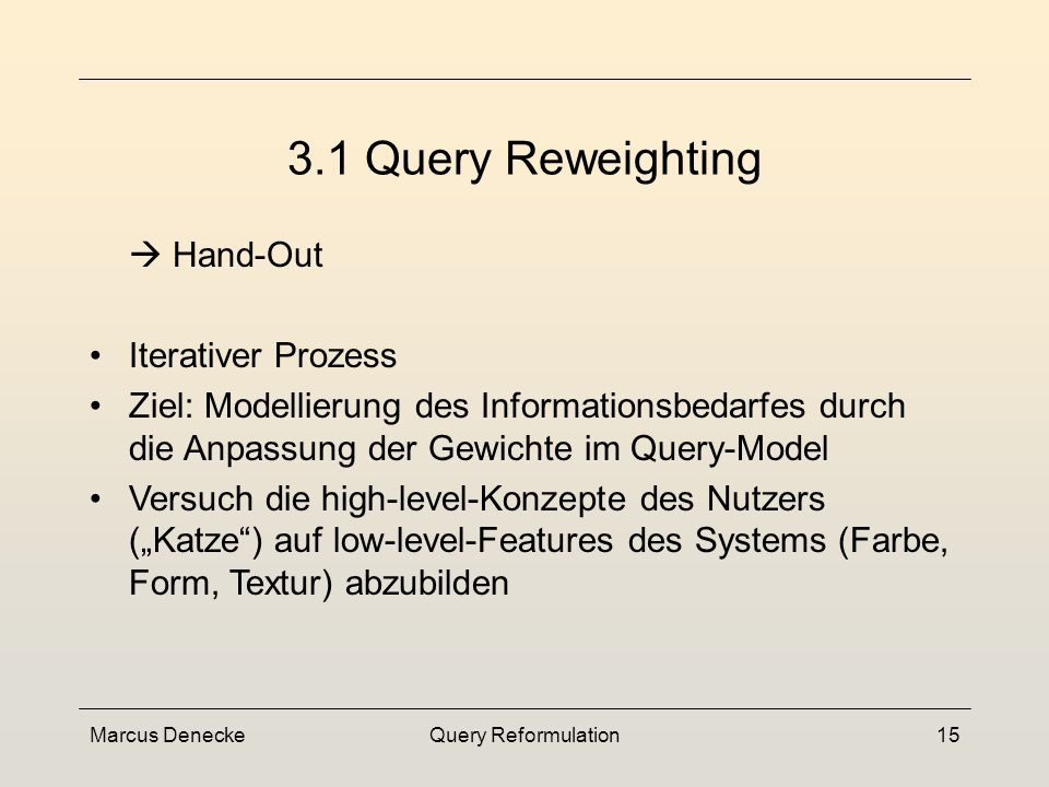 Marcus DeneckeQuery Reformulation14 Techniken Query Refinement Query Representation Modification Query Reweighting Query Expansion Query Point Movement 3.