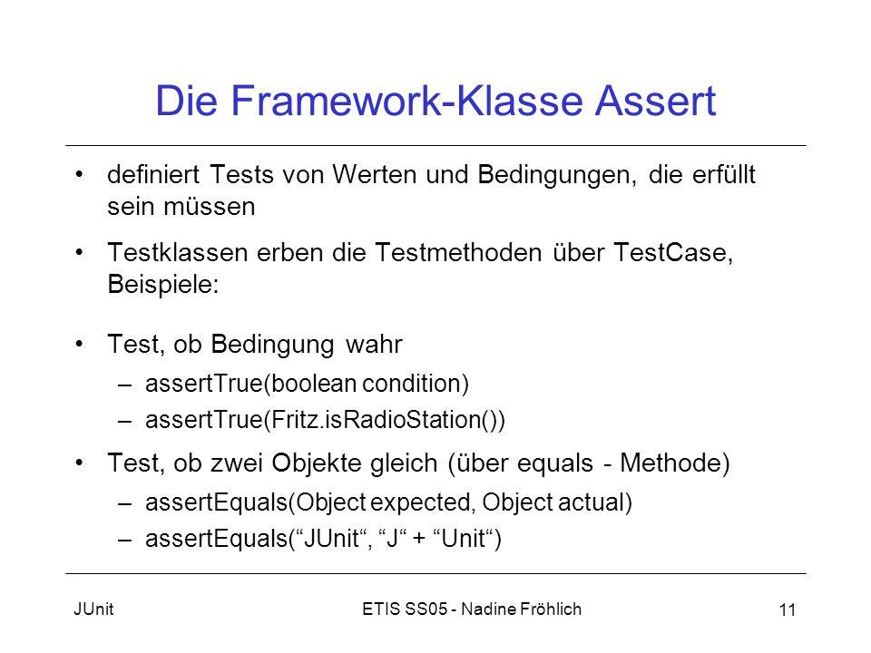 ETIS SS05 - Nadine FröhlichJUnit 11 Die Framework-Klasse Assert definiert Tests von Werten und Bedingungen, die erfüllt sein müssen Testklassen erben