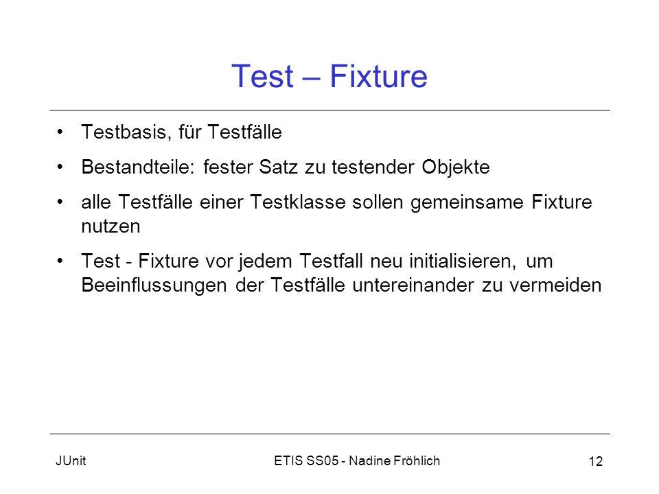 ETIS SS05 - Nadine FröhlichJUnit 12 Test – Fixture Testbasis, für Testfälle Bestandteile: fester Satz zu testender Objekte alle Testfälle einer Testkl