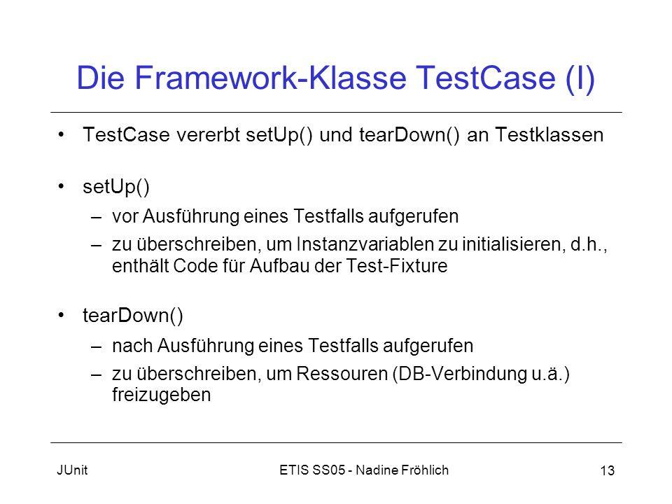 ETIS SS05 - Nadine FröhlichJUnit 13 Die Framework-Klasse TestCase (I) TestCase vererbt setUp() und tearDown() an Testklassen setUp() –vor Ausführung e