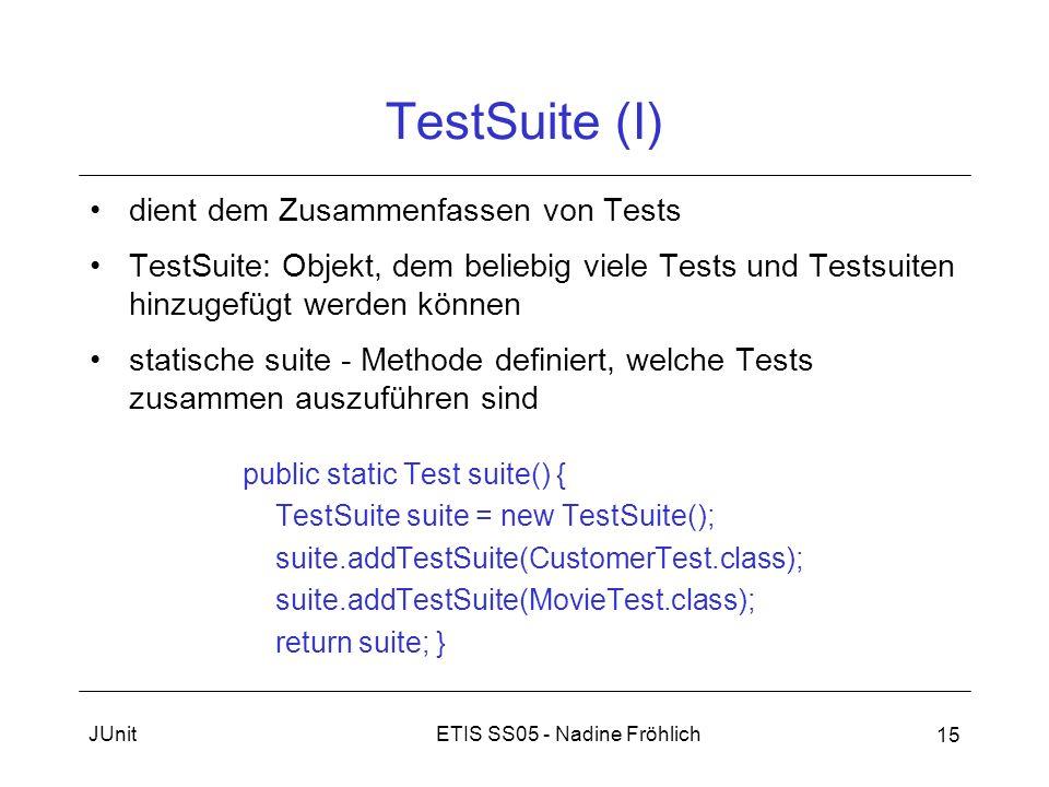 ETIS SS05 - Nadine FröhlichJUnit 15 TestSuite (I) dient dem Zusammenfassen von Tests TestSuite: Objekt, dem beliebig viele Tests und Testsuiten hinzug