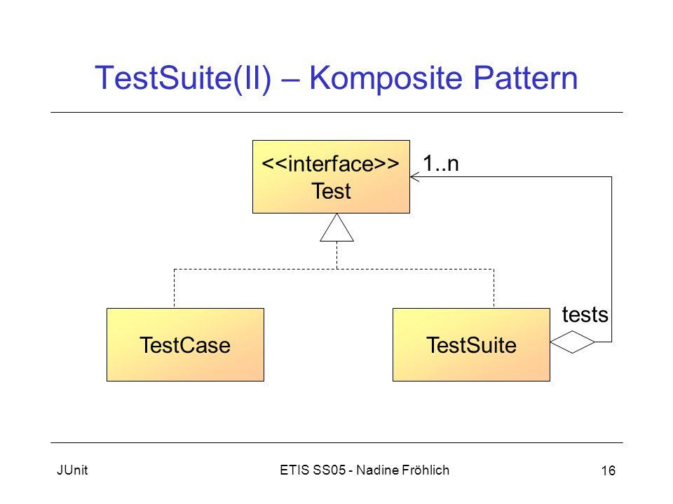 ETIS SS05 - Nadine FröhlichJUnit 16 TestSuite(II) – Komposite Pattern > Test TestCaseTestSuite 1..n tests