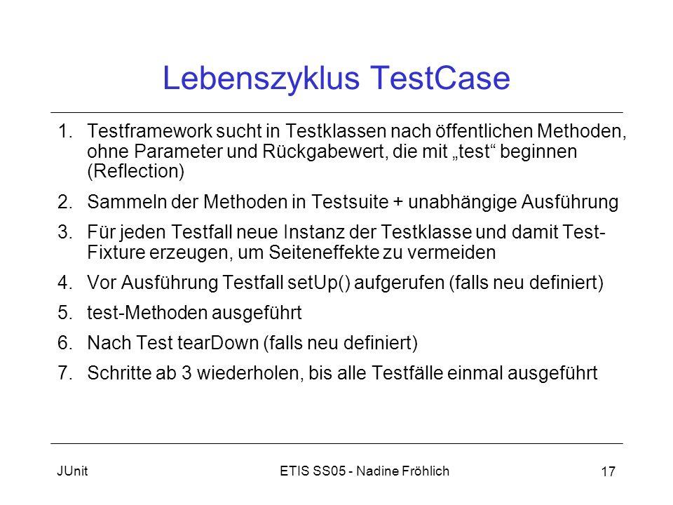 ETIS SS05 - Nadine FröhlichJUnit 17 Lebenszyklus TestCase 1.Testframework sucht in Testklassen nach öffentlichen Methoden, ohne Parameter und Rückgabe