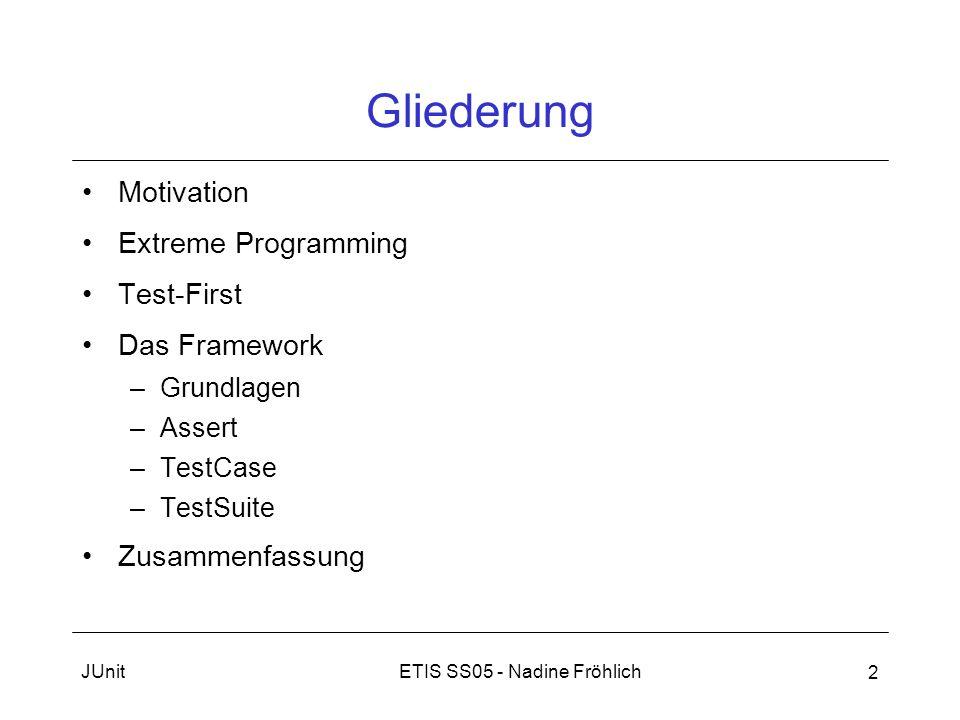 ETIS SS05 - Nadine FröhlichJUnit 2 Gliederung Motivation Extreme Programming Test-First Das Framework –Grundlagen –Assert –TestCase –TestSuite Zusamme