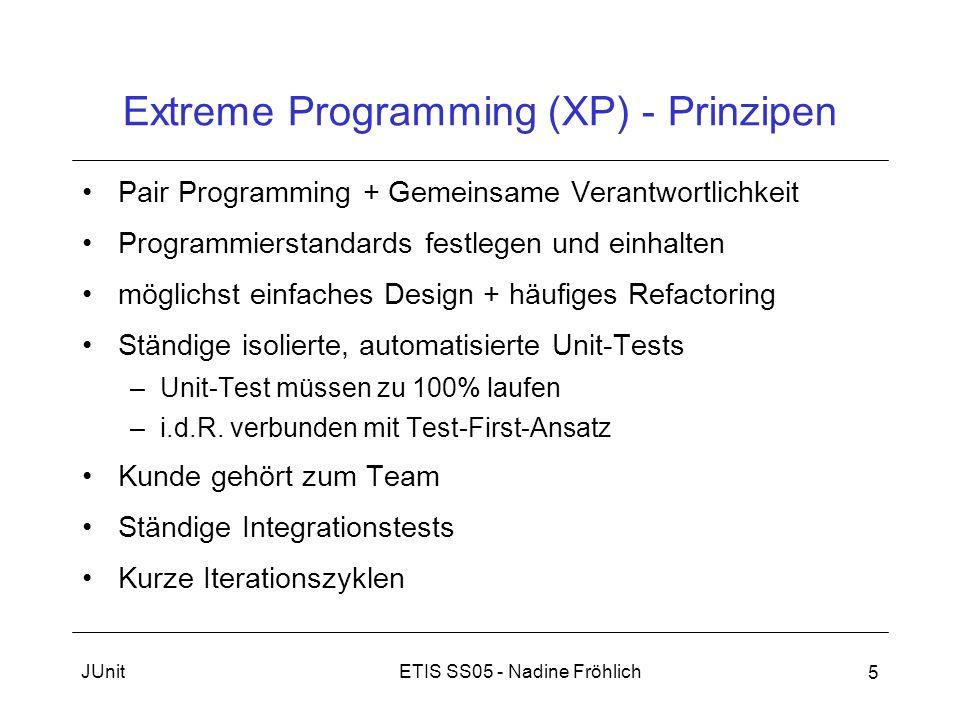 ETIS SS05 - Nadine FröhlichJUnit 5 Extreme Programming (XP) - Prinzipen Pair Programming + Gemeinsame Verantwortlichkeit Programmierstandards festlege