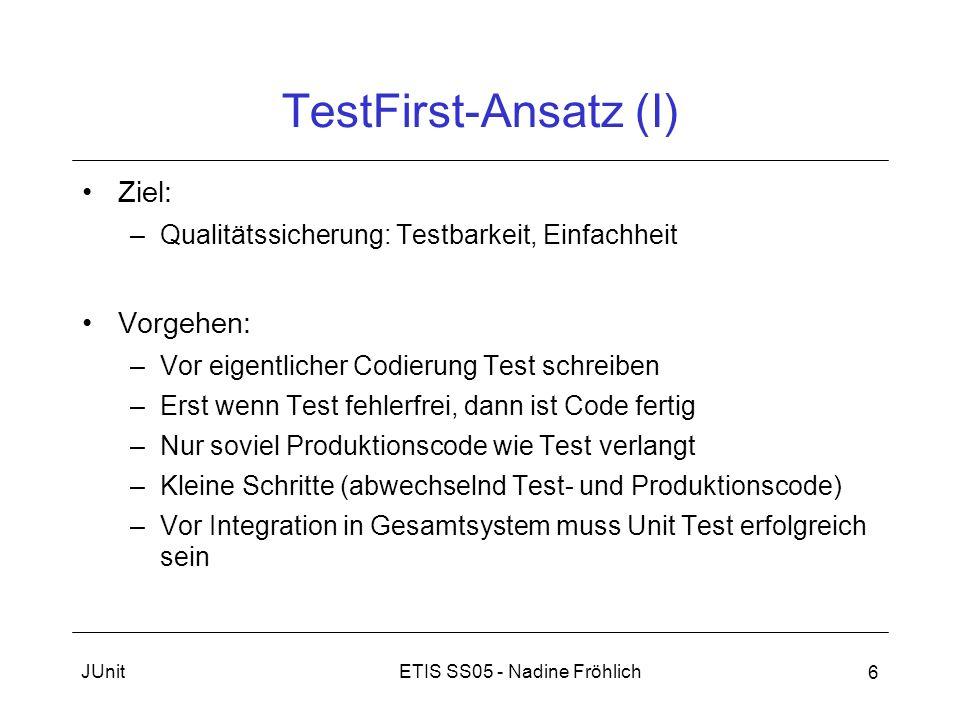 ETIS SS05 - Nadine FröhlichJUnit 6 TestFirst-Ansatz (I) Ziel: –Qualitätssicherung: Testbarkeit, Einfachheit Vorgehen: –Vor eigentlicher Codierung Test
