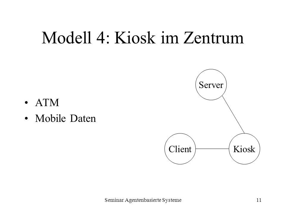 Seminar Agentenbasierte Systeme11 Modell 4: Kiosk im Zentrum ATM Mobile Daten Server KioskClient