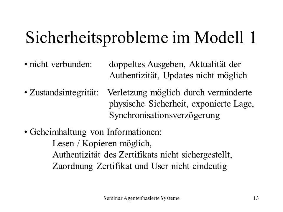 Seminar Agentenbasierte Systeme13 Sicherheitsprobleme im Modell 1 nicht verbunden: doppeltes Ausgeben, Aktualität der Authentizität, Updates nicht mög