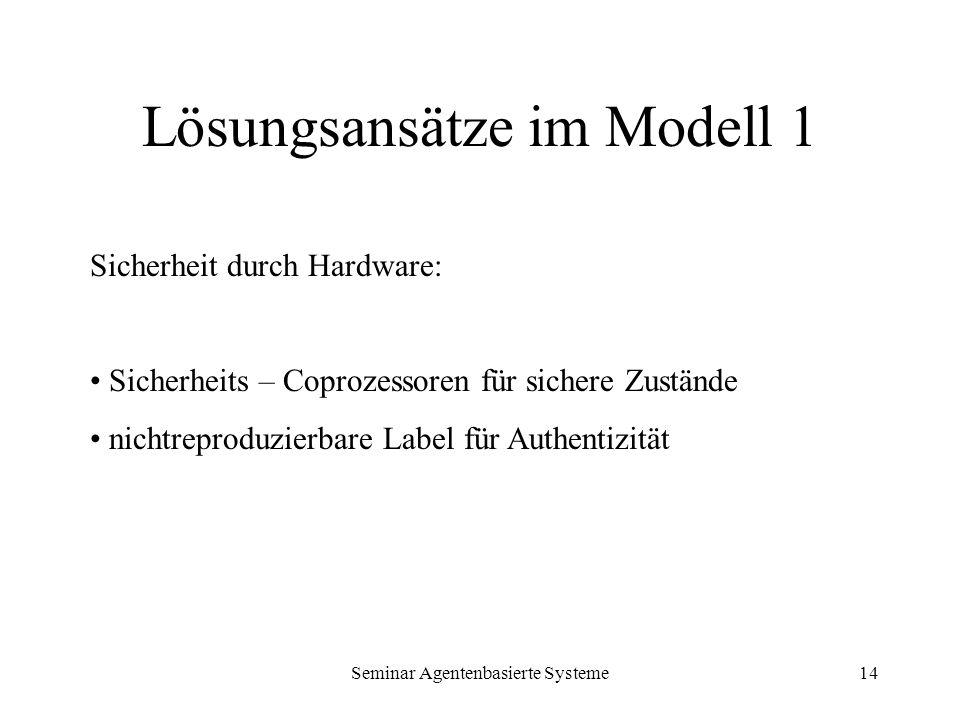 Seminar Agentenbasierte Systeme14 Lösungsansätze im Modell 1 Sicherheit durch Hardware: Sicherheits – Coprozessoren für sichere Zustände nichtreproduz