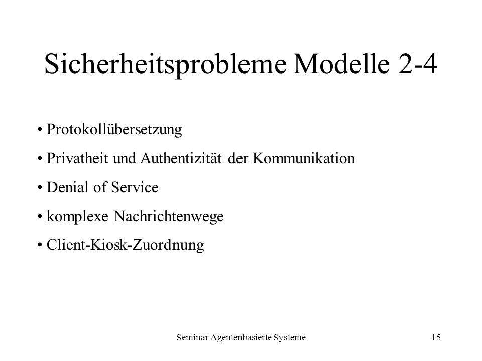 Seminar Agentenbasierte Systeme15 Sicherheitsprobleme Modelle 2-4 Protokollübersetzung Privatheit und Authentizität der Kommunikation Denial of Servic