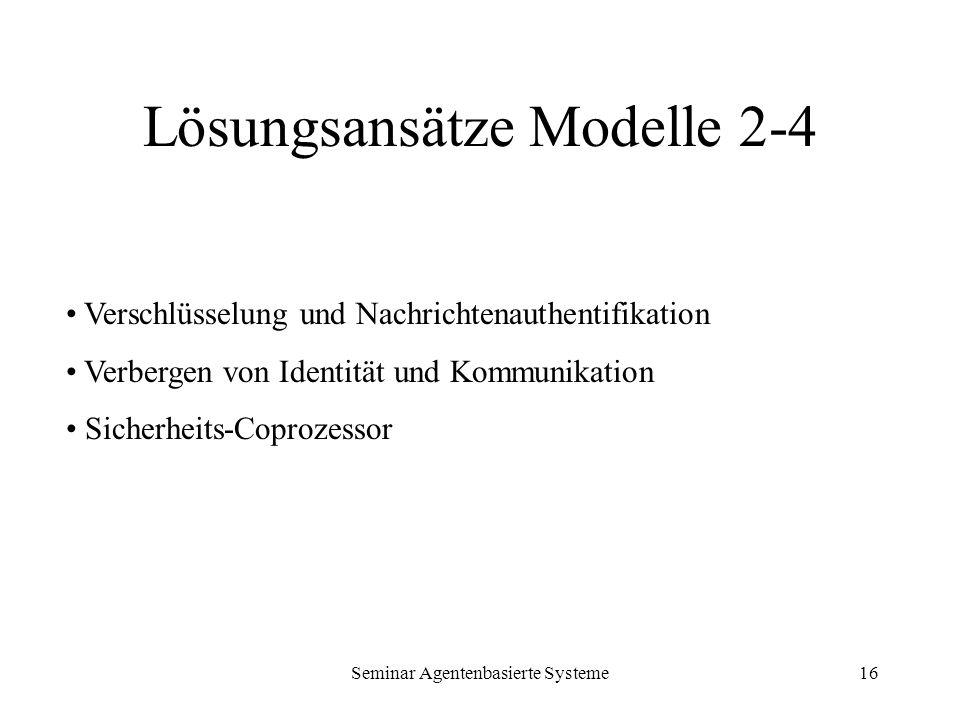 Seminar Agentenbasierte Systeme16 Lösungsansätze Modelle 2-4 Verschlüsselung und Nachrichtenauthentifikation Verbergen von Identität und Kommunikation