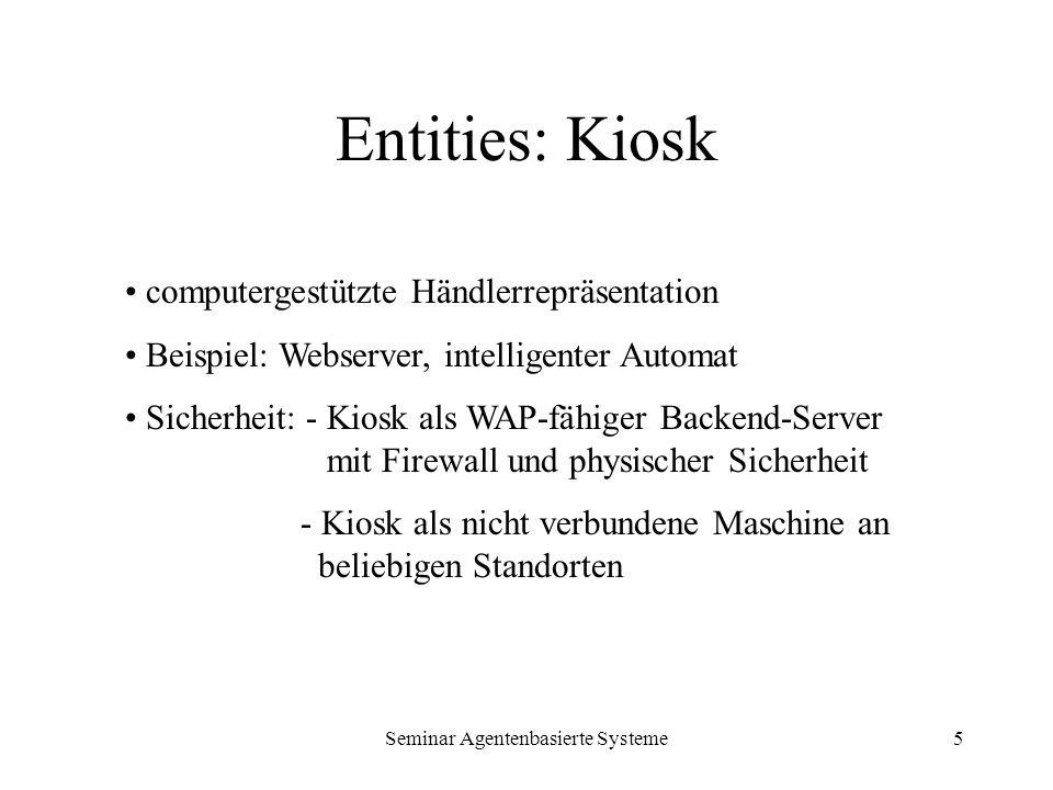 Seminar Agentenbasierte Systeme5 Entities: Kiosk computergestützte Händlerrepräsentation Beispiel: Webserver, intelligenter Automat Sicherheit: - Kios