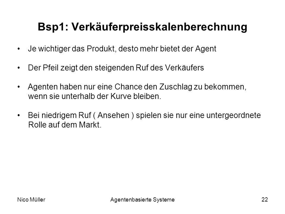 Nico MüllerAgentenbasierte Systeme22 Bsp1: Verkäuferpreisskalenberechnung Je wichtiger das Produkt, desto mehr bietet der Agent Der Pfeil zeigt den steigenden Ruf des Verkäufers Agenten haben nur eine Chance den Zuschlag zu bekommen, wenn sie unterhalb der Kurve bleiben.