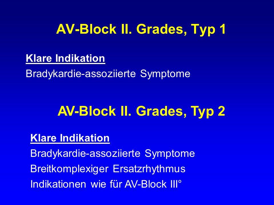 AV-Block II. Grades, Typ 1 Klare Indikation Bradykardie-assoziierte Symptome AV-Block II. Grades, Typ 2 Klare Indikation Bradykardie-assoziierte Sympt