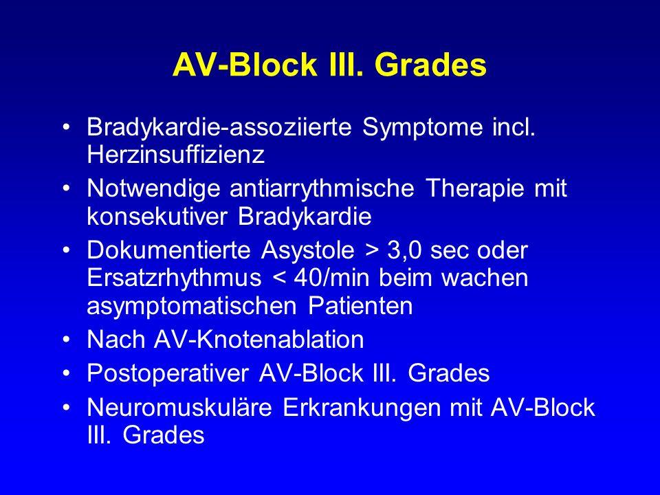 AV-Block III. Grades Bradykardie-assoziierte Symptome incl. Herzinsuffizienz Notwendige antiarrythmische Therapie mit konsekutiver Bradykardie Dokumen