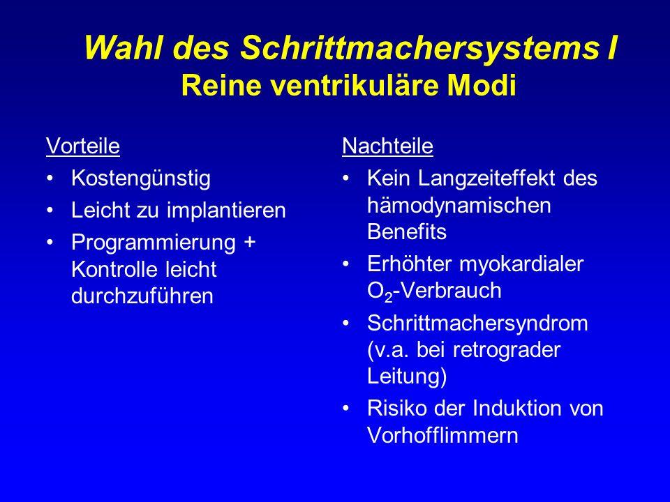 Wahl des Schrittmachersystems I Reine ventrikuläre Modi Vorteile Kostengünstig Leicht zu implantieren Programmierung + Kontrolle leicht durchzuführen