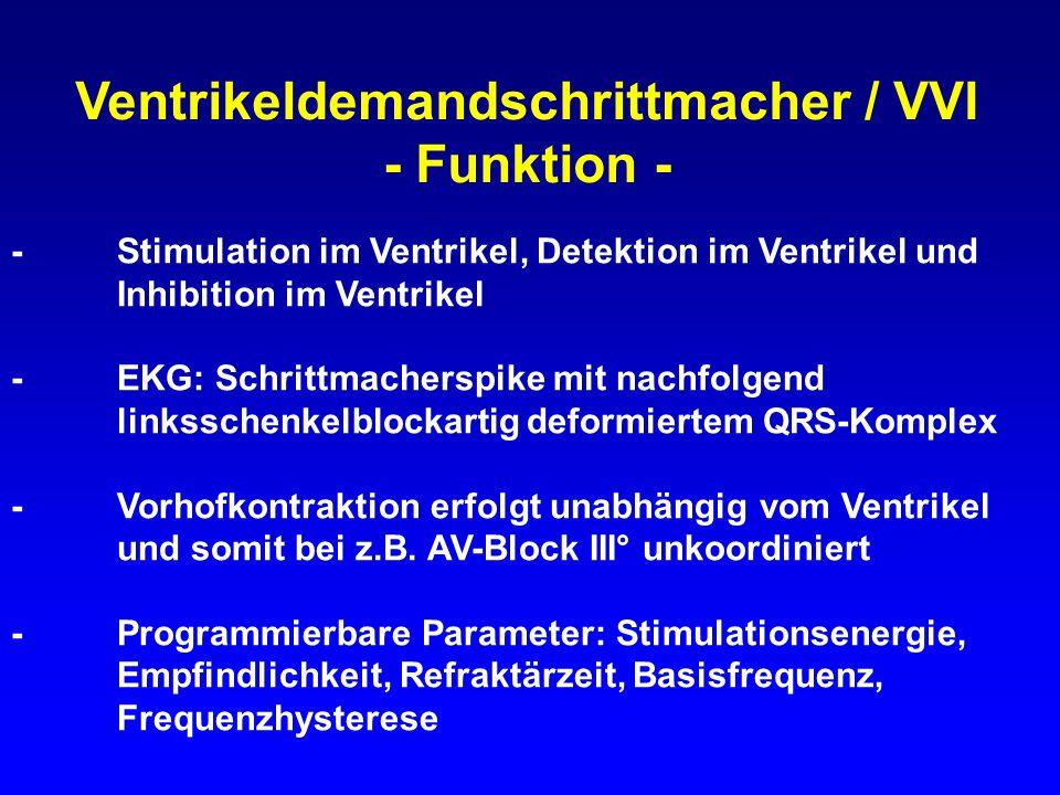 Ventrikeldemandschrittmacher / VVI - Funktion - -Stimulation im Ventrikel, Detektion im Ventrikel und Inhibition im Ventrikel -EKG: Schrittmacherspike