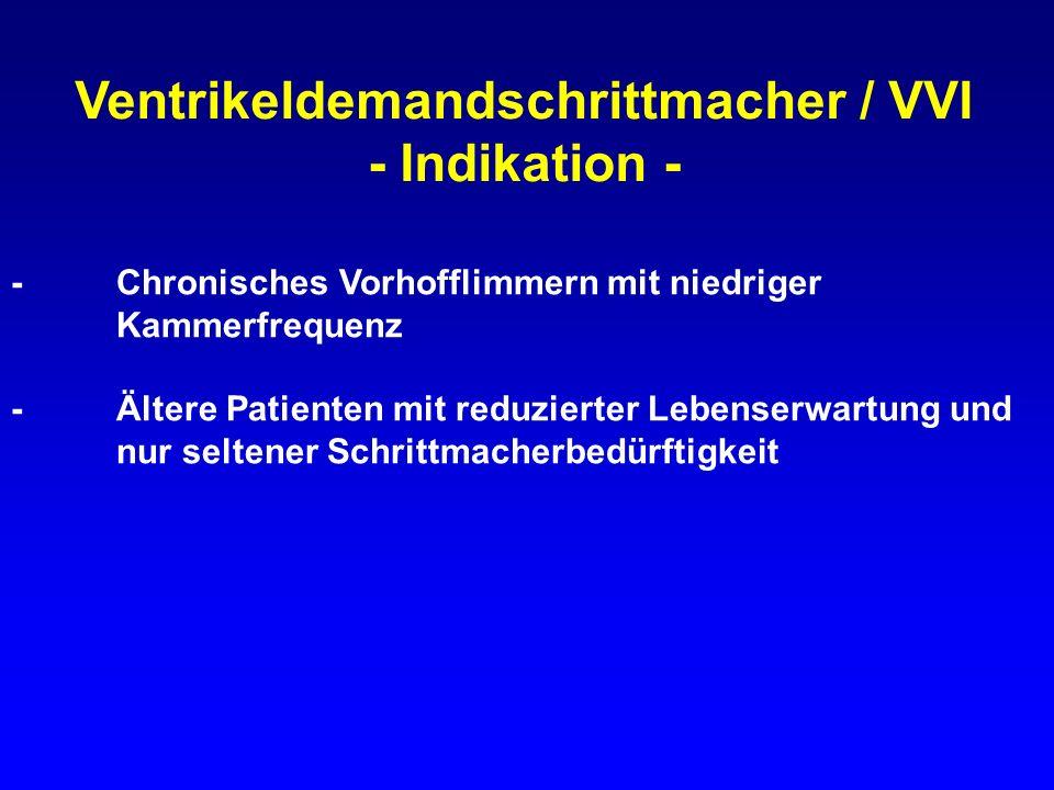 Ventrikeldemandschrittmacher / VVI - Indikation - -Chronisches Vorhofflimmern mit niedriger Kammerfrequenz -Ältere Patienten mit reduzierter Lebenserw