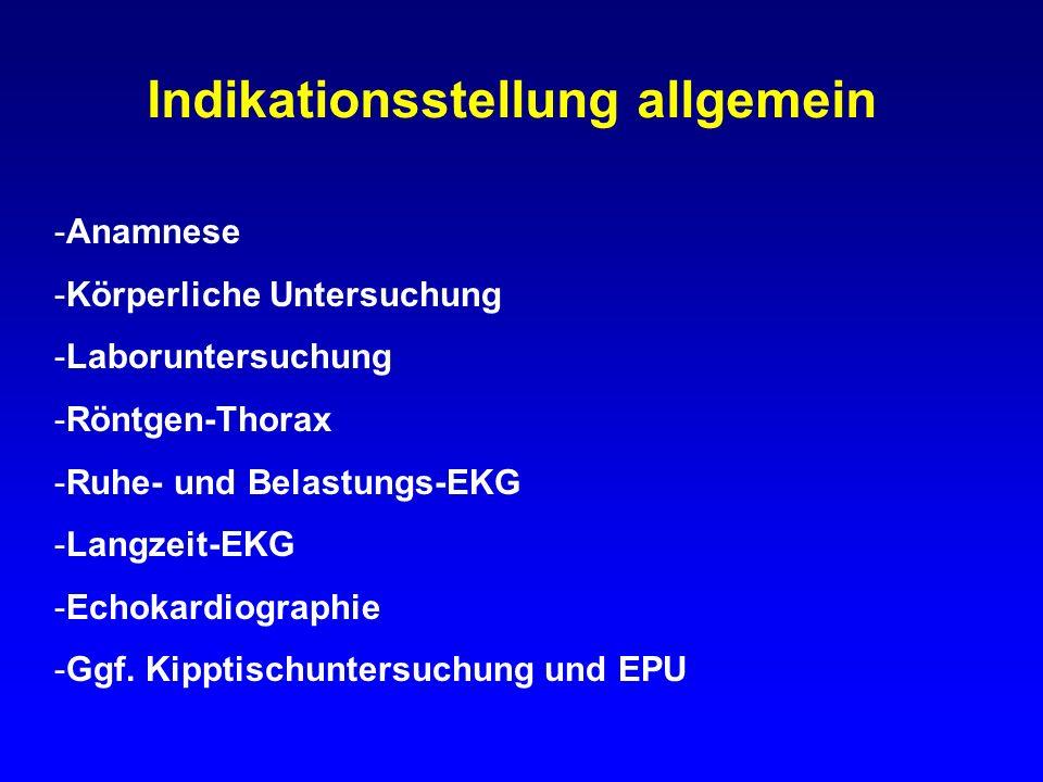 Indikationsstellung allgemein -Anamnese -Körperliche Untersuchung -Laboruntersuchung -Röntgen-Thorax -Ruhe- und Belastungs-EKG -Langzeit-EKG -Echokard